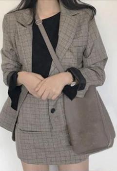 韓国 チェック ジャケット