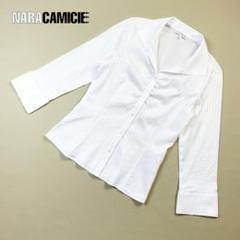ナラカミーチェ ストライプ デザインタック シャツ七分袖 白サイズ1*T2153