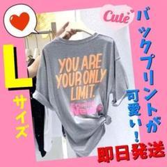 半袖Tシャツ ビッグロゴ 夏 レディース メンズ グレー 大きい 可愛い L